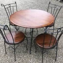 Round Table Solid Wood and 4 Chairs with Cast Iron Bases